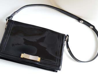 Vintage / 1950s / French / Dofan Patent Leather Black Shoulder Bag / Purse / Baguette