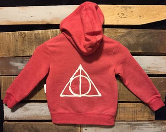 Toddler Harry Potter DEATHLY HALLOWS Fleece Zip Up/Toddler/HP/Chosen One/Deathly Hallows