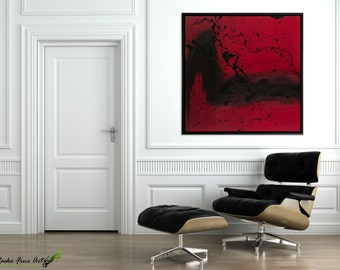 Large abstract art Canvas art Acrylic paintings Wall hanging Modern Red painting Large wall art Modern art Abstract painting by Rasko