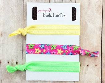Starfish Hair Ties - Elastic Hair Ties - Hair Tie Favors - Bridesmaid Gift - Shower Favors - Party Favors - Ponytail - Knotted Bracelet