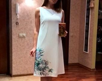 Dress hand painted, white, hand-sewn Dress, frost peonies, Women's Floral Dress, jersey Dress, Elegant Dress,  Handmade Dress