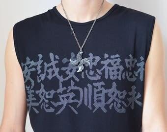 KANJI TEE -asian, chinese, letters, japan, cyber, vaporwave, sad boys, festival, aesthetic, gothic, 90s, symbols, tank top, y2k-