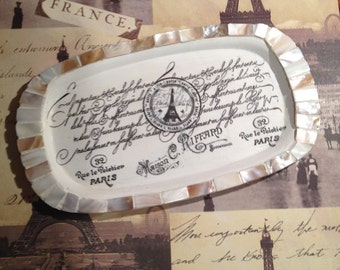 Chippy Parisienne Dresser Vanity Caddy Upcycled Silver Gallery Tray, Farmhouse, Rustic Luxe, French Paris Jewelry Tray, Teacher Gift