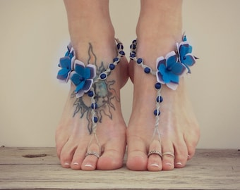 Periwinkle flower barefoot sandals, purple and blue pearls, water safe hemp beach sandals, bridesmaids, weddings, photo shoots, foot jewelry