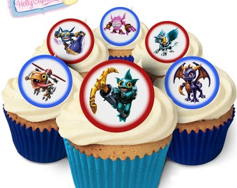 Skylander: 24 Edible round wafer cake toppers. Designed and made in the UK!