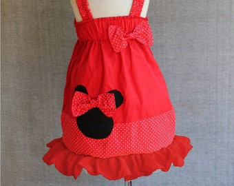 Toddler red dress, Mickey mouse dress, Red polka dot dress, Girls Disney Dress,Toddler play dressPeasant dress, Red and black, Ruffled dress