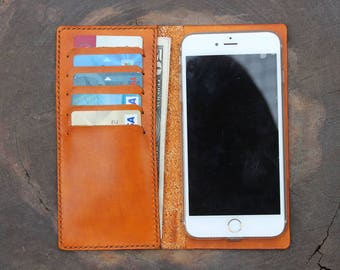 Leather iPhone Wallet Case /  Leather IPhone 8 Plus Case/  7 Plus Case/  6 Plus Case/ 8 Case/ 7 case/ 6 case or iPhone X Case