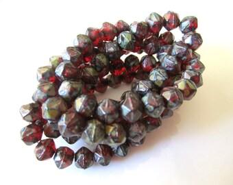 Red Picasso English Cut Czech Glass Beads Marsala English Cut Glass Beads Red Marsala Czech English Cuts 8mm (10 pcs) 273V3