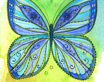 Butterfly in Blues and Greens