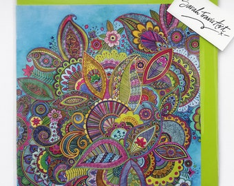 Evie's Garden Paisley Greetings Card