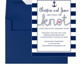 Nautical Rehearsal Dinner Invitations - Beach Rehearsal Dinner invitation - Navy Blue - Wedding - Dinner Rehearsal - Rehearsal-102