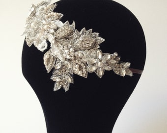"Bridal Headpiece ""Amelia"" Beaded Vintage Style Lace, Crystal and Pearl Side Tiara, Bridal Browband, Wedding Headdress"