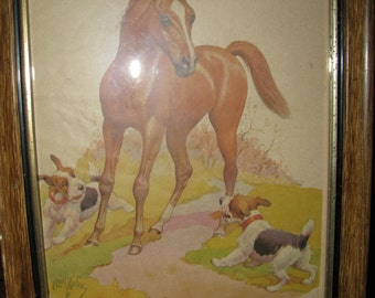 Vintage foal with black and white terrier dogs print