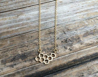 Gold Honeycomb Necklace, Honeycomb Charm Necklace, Bee Necklace, Simple Necklace, Delicate Necklace, Gifts for her