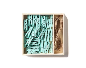 Mint Mini Clips | Tiny Clothespins Pack | Small Aqua Blue Green Pegs With Twine | Photo Picture Note Clip Hanging Set | Office Home Decor