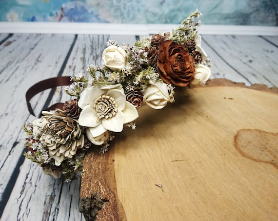 Dried flower CROWN / WREATH brown cedar rose ivory sola flowers tiny cones rustic wedding satin ribbon Flower girl Bride fall autumn winter