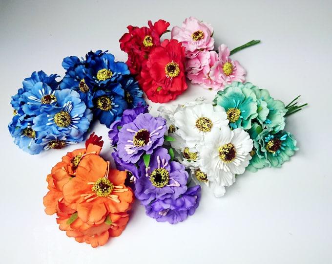 Artificial stemmed flowers 6pcs Wedding cherry flower white blue red orange mint purple diy bouquet floristic supply flower crown wreath