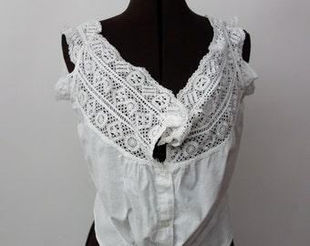 Edwardian corset cover 1900s cotton camisole RARE larger size antique lingerie S-L Victorian cami