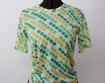 1960s semi-sheer polka dot print t-shirt cut blouse patterned printed nylon top short sleeves lingerie top modest professional career shirt