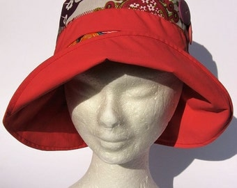 women hat, rain, impermeabile, orange red flowers design