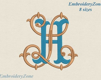 Double antique monograms in old style H & L intertwined Embroidery design. 2 monograms L and H. 8 sizes. Fonts HL LH. Hoop 4x4 5x7 6x10 7x11