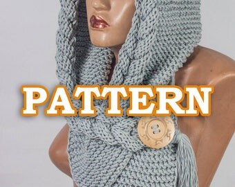 PATTERN Hooded Scarf, Scoodie, Instant Download,  Hooded Cowl,  DIY