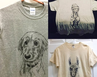Custom made pet portrait shirts -- please read description before ordering!