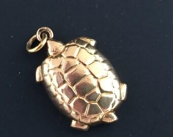 14K Gold Turtle Charm