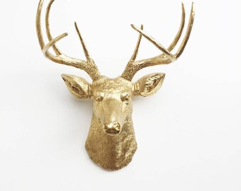 ANY COLOR or GOLD Deer Head Wall Mount // Deer Antlers // Stag Hanging // Rustic Decor // Faux Taxidermy // Fake Animal Heads // Cabin Decor