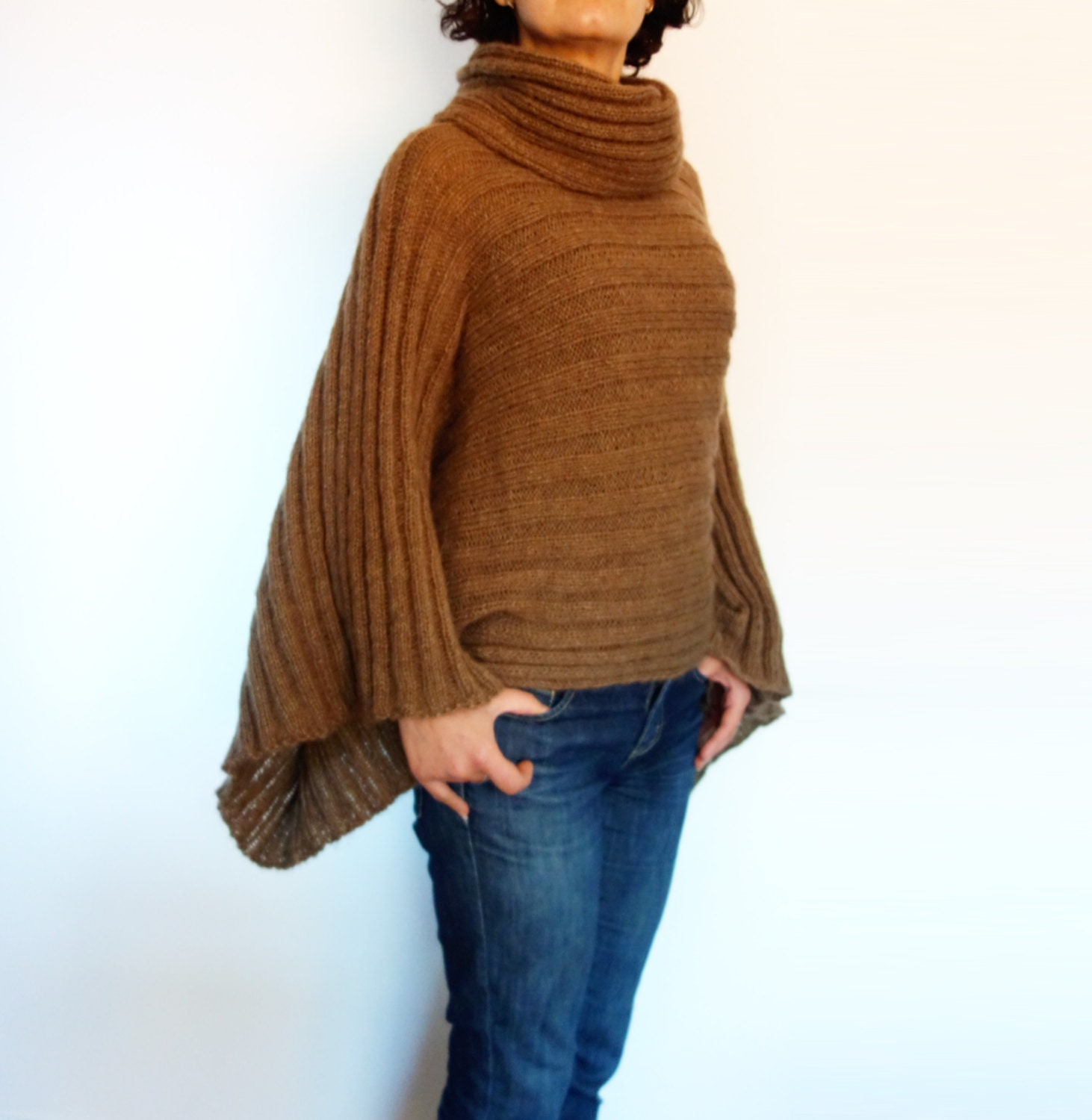 Knitting Pattern Sweater With Collar : Knitting Pattern Large Kimono Sleeve Sweater/Rolled Collar