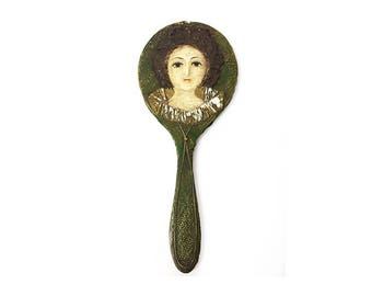 Antique Victorian French wood and paper maché hand mirror with beautiful female bust art on the back side.