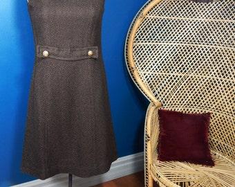 Vintage Brown Shift Dress | Mod | Mad Men | Size Medium