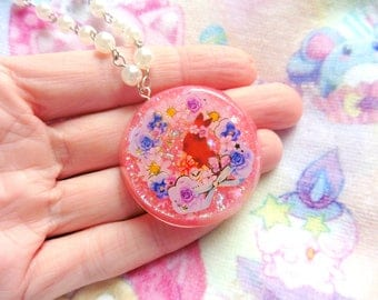 Lolita Pink Bunny Resin Necklace