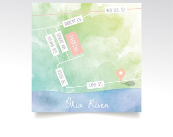 Level 1 Map . Ohio River Custom Watercolor Wedding Directions & Details 4 x 4in Square Printed Card . White Calligraphy Blush Gold Teal Mint