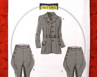 Butterick Sewing Pattern B6340, Men's Jacket Coat Breeches Jodhpurs, Sizes S M L, Victorian Edwardian Historical Reenactment Clothing, UNCUT