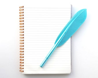 Feather pen, turquoise/blue