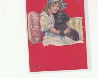 A/S Columbo Heartfelt-Stunning Portrait Of Daachshund And Young Girl In Edwardian Finery-Antique Postcard 1910s
