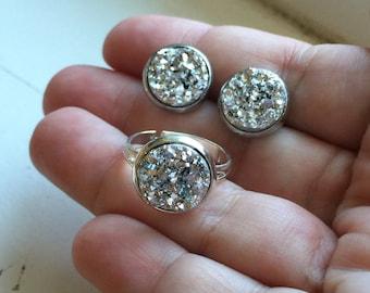 Silver Earrings,  Silver Ring, Silver Faux Druzy Earrings, Hypo Allergenic, Druzy Jewelry, Combination Set, Stainless Steel Earrings