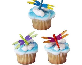 Set of 12 Dragonfly Cupcake Picks Cake Toppers Decorations Wedding Mother's Day Garden Party