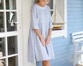 Comfy Linen Dress  / Wide Linen Dress / 3/4 Sleeves Linen Dress / Pleated Linen Dress / Maternity Dress / Wide And Loose Dress / Japanese