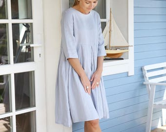 Wide and pleated linen dress with 3/4 sleeves and comfy side pockets. Washed linen dress. Women dress.