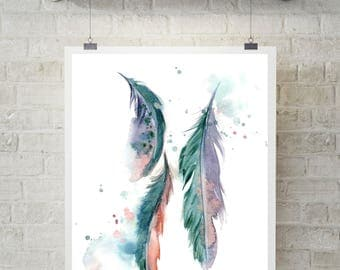 Feathers, art print, teal feathers art, watercolor painting art, modern wall decor, feather painting