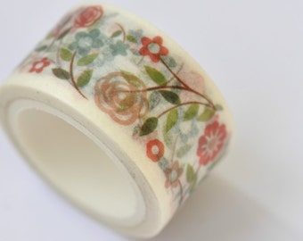 Flowers Washi Tape / Decorative Tape / Japanese Masking Tape 20mm wide x 5m long (0.8 inch wide x 5.5 yards long) No. 12011
