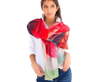 Rome Printed Scarf, Cashmere - Scarves, Scarf, Shawl, Digital Photograph, Floral Print, Fuchsia, Pink, Christmas, Women Gift, Accessories