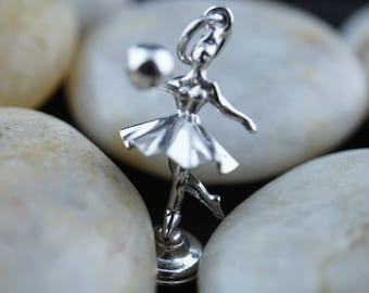 Charm Pendant  Sterling Silver Ballerina Girl with jump ball Art Deco Vintage Jewelry u213