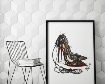 High heels poster, Fashion poster,  Fashion illustration, Heels poster, Heels illustration, Heel art, Heel addict, Fashion wall art