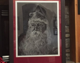 Santa Print with custom Mat and Frame