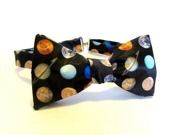 Planets Self Tie Bow Tie / Galaxy Universe Cosmos Milky Way Science Astro Physics Nebula Astronomy Freestyle Adjustable Boys Mens Extra Long