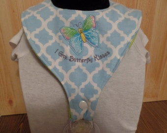 "Pacifier bib embroidered applique ""I Give Butterfly Kisses"", binky bib, binkie bib, drool bib, baby gift"