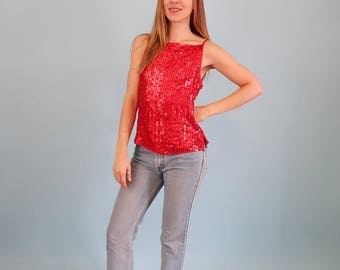 STUNNING Red SILK Sequin Tank Top